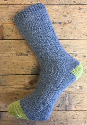 Men's Wool Socks - Grey and Green - Machine Washable.